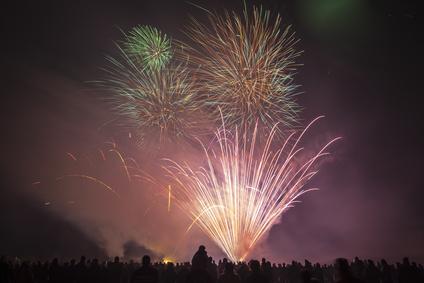 Zuschauer beim Feuerwerk