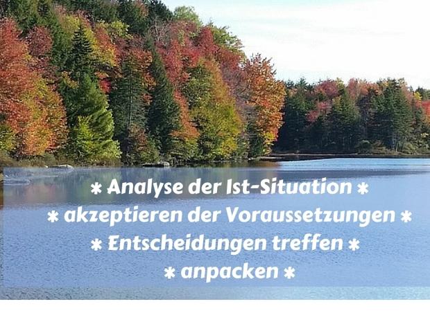 Analyse der Ist-Situation - akzeptieren der Voraussetzungen - Entscheidungen treffen - anpacken
